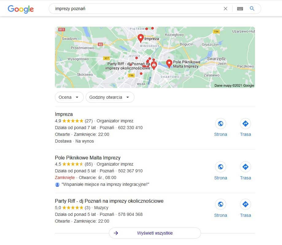 SERP features - Wyniki w formie Google Local Pack
